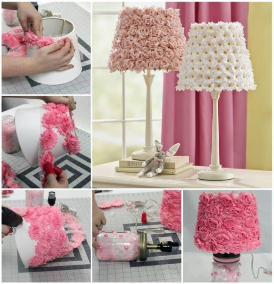 Gorgeous DIY vintage lamp decoration with fabric flowers37 DIY Home Decor Ideas for a Vintage Look. Diy Vintage Home Decor. Home Design Ideas