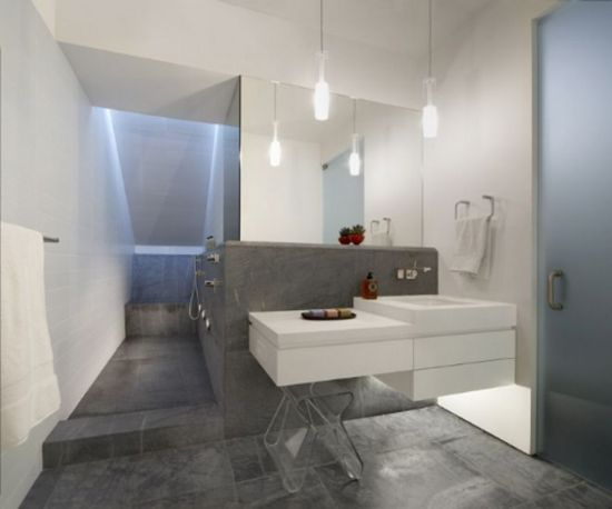 Minimalist Modern Bathroom Design With Grey And White Accents