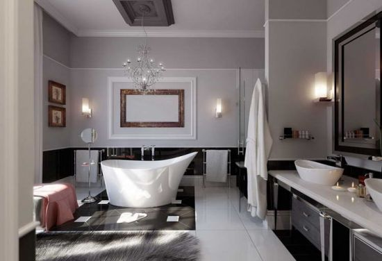 Modern bathroom decoration with trendy bathtub and ornamental chandelier