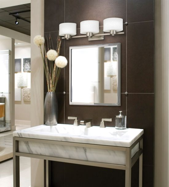 Awesome Modern Bathroom Decoration With White Drum Vanity Area Lighting Pictures