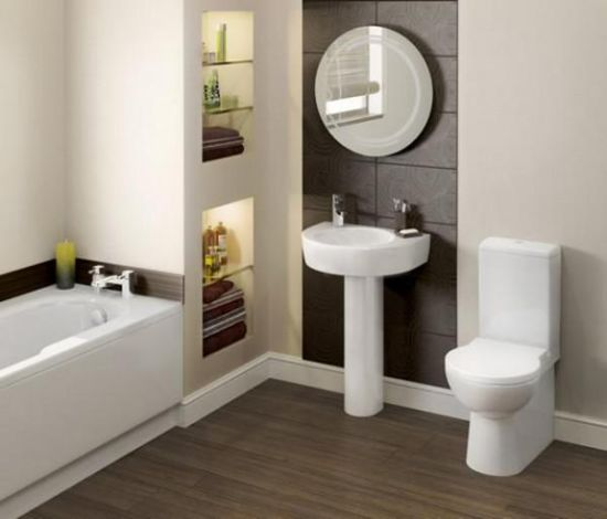 modern bathroom remodel design involving built in storage shelves