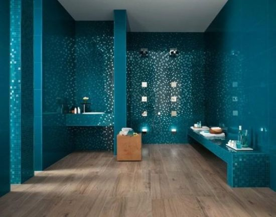 modern bathroom remodel idea with blue mirror tile decor