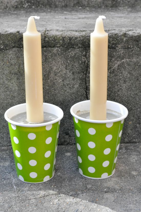 DIY Home Decorating Polka Dotted DIY Vintage Paper Cup Candle Holder