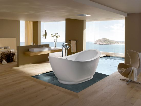 Spacious Modern Bathroom Design With White Freestanding Bathtub