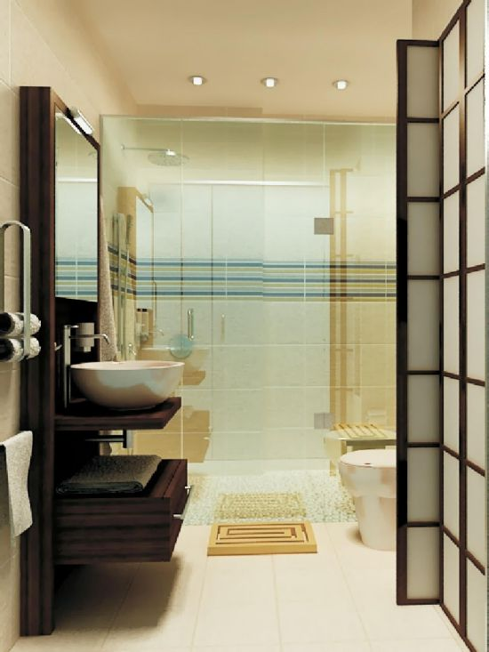 Stunning Mid Century Modern Asian Themed Bathroom Idea