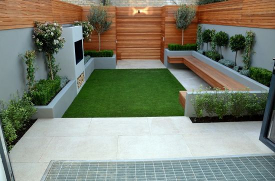 stylish small backyard garden design with trendy furntiure