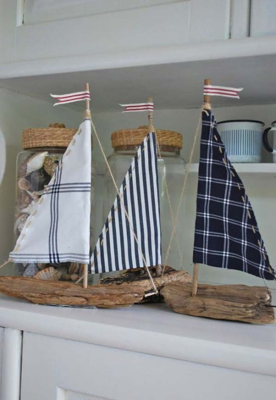 Vintage DIY driftwood sailboat decor. 37 DIY Home Decor Ideas for a Vintage Look
