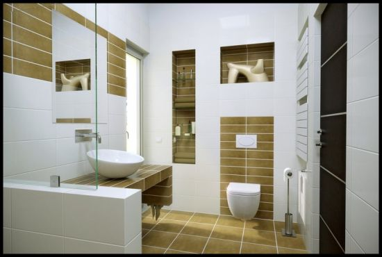 White And Brown Accented Modern Bathroom Design Idea