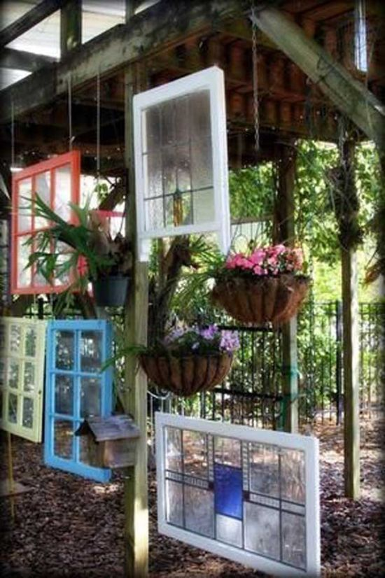 Cool Window Frames As Garden Fence Idea