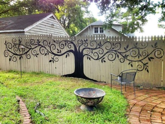 Creative Garden Ideas 33 creative garden fencing ideas ultimate home ideas gorgeous tree mural art on garden fence workwithnaturefo