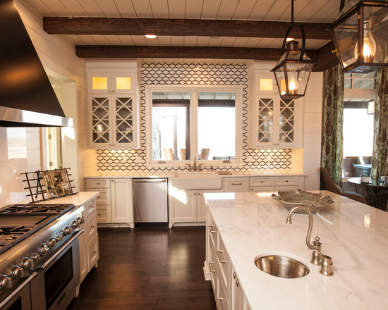 Classic chic Mediterranean luxury kitchen design with contemporary tones