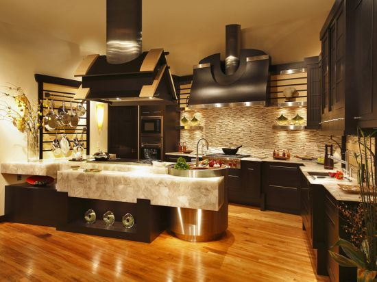 Luxury kitchen cabinet design in dark chocolate accent