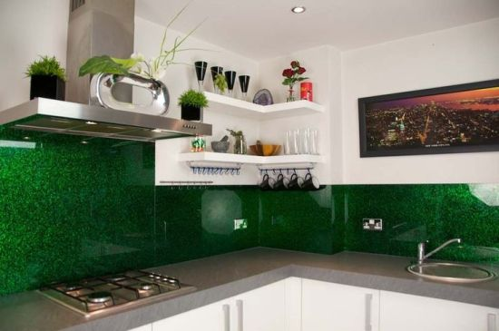 luxury kitchen design with emerald green splashback - Luxury Kitchen Designs