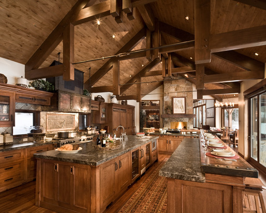 Luxury Kitchen Design With Rustic Accented Furnishings
