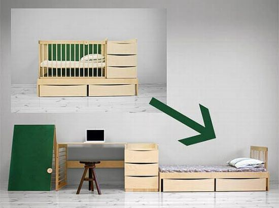 Genial Transform Baby Crib That Converts Into A Bed And A Study Table