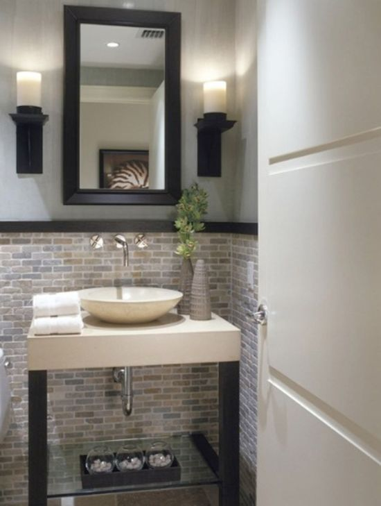 Elegant A Half Bathroom Design With Brick Ceramic Tiled Wall Above The Sink