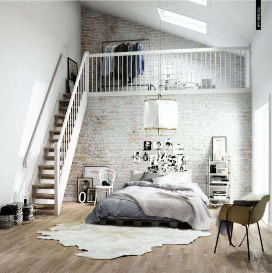 A Very Inviting Scandinavian Bedroom Design Involving A Brick Wall,  Illustrations And Wooden Floor