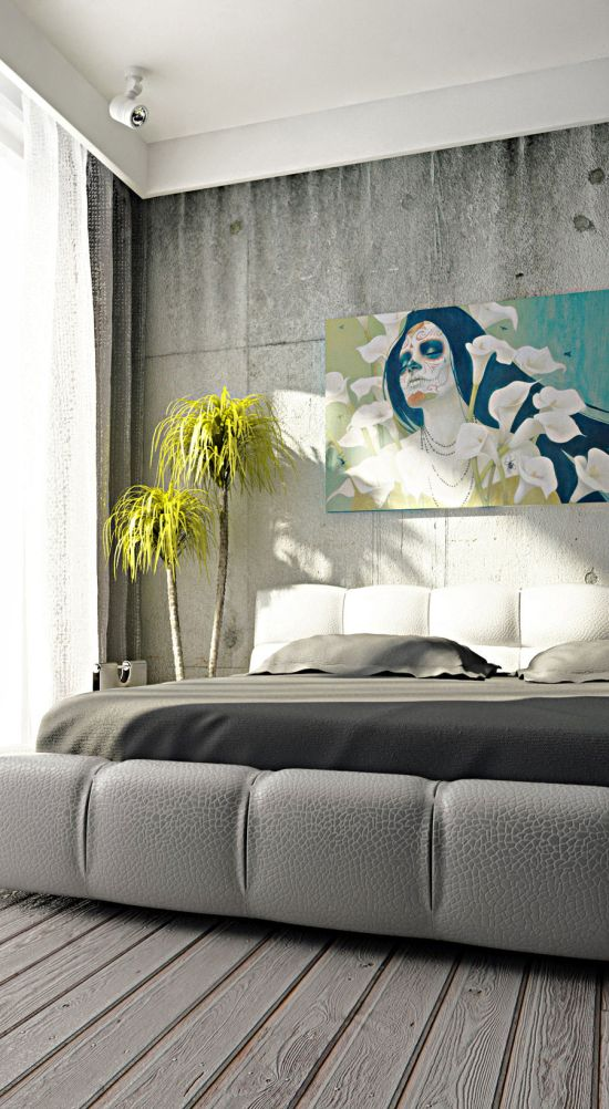 Interior Decor Wall Paintings : Creative concrete walls for bedroom ultimate home idea