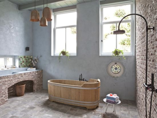 Attractive Shower Area Rustic Brick Wall Design