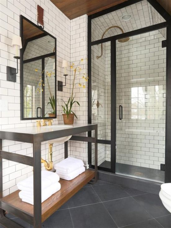 Black And White Bathroom Design With White Brick Wallpaper Wall