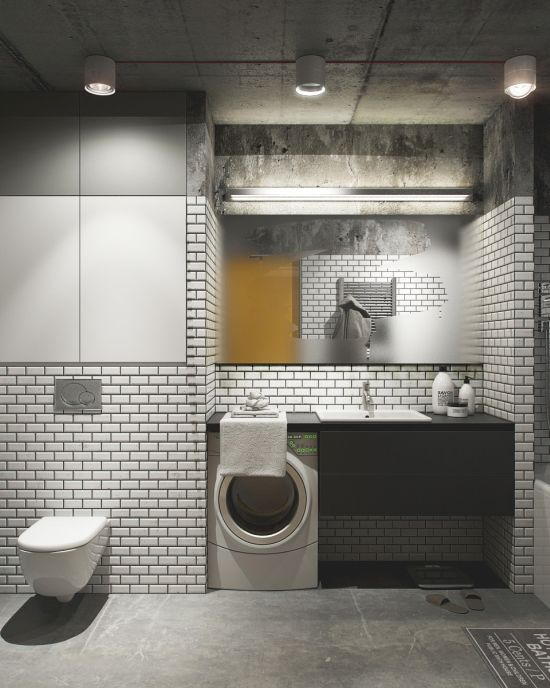 Concrete Bathroom Design With White Brick Wall Tiles