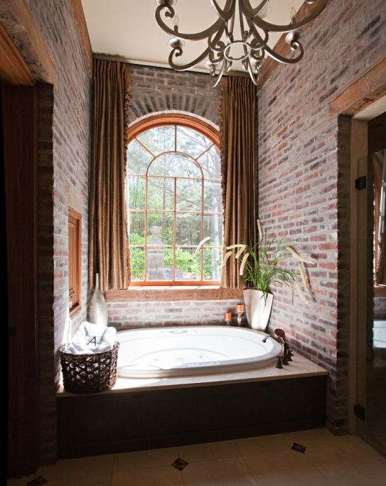 Fake Brick Wall Panels Adorning This Bathroom With Arched Window