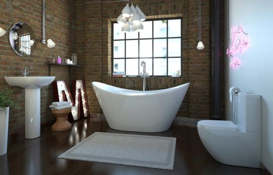 Gorgeous bathroom design with brick wallpaper walls