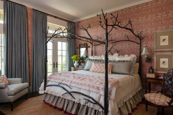 gorgeous bedroom design with attractive wallpaper and custom bed - Hot Bedroom Designs