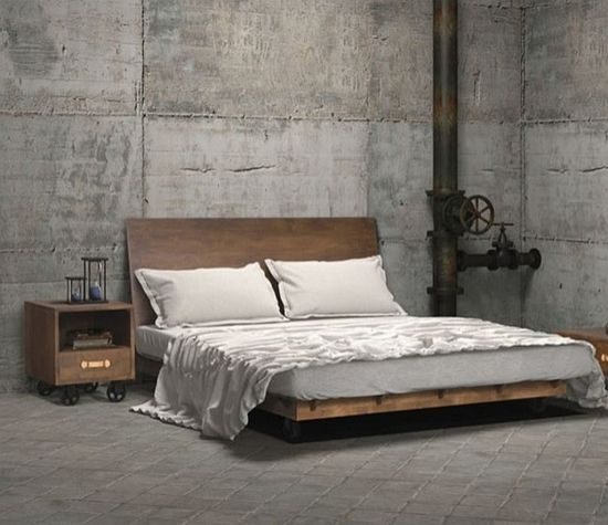 minimalist industrial bedroom design with concrete wall and flooring - Concrete Walls Design