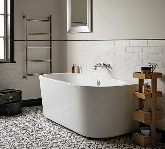 moroccan inspired bathroom design with white brick tiled walls 21496
