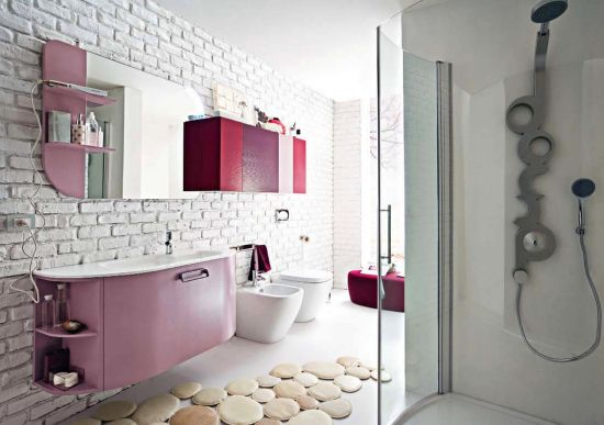 Pink And Purple Themed Bathroom Design With Brick Tile Walls