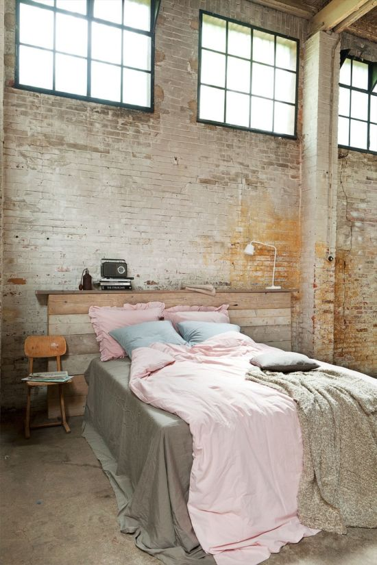 Best Rustic bedroom with brick concrete walls