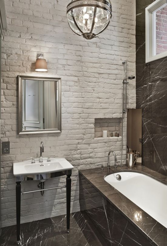 Gentil Rustic White Brick Tile Adorning The Stylish Bathroom
