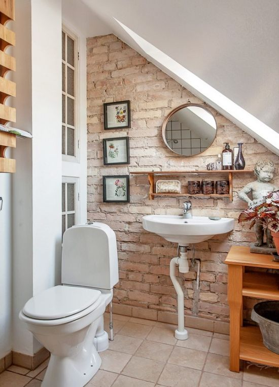 Beau Small Bathroom Design With Fake Brick Wall