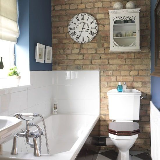 small bathroom design with wallpaper brick tiled wall - Designs For Pictures On A Wall