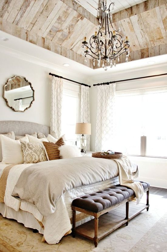 Vintage Stunning bedroom design with reclaimed wooden ceiling and cozy decor