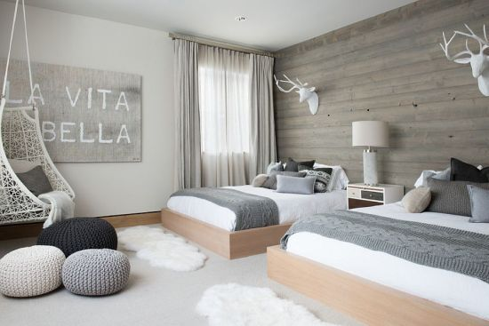 Stunning Scandinavian Bedroom Decor With Warm Wooden Wall And Grey Palette