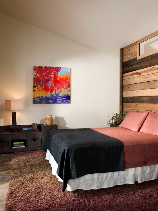 warm bedroom decor with reclaimed wood headboard - Bedroom Design Wood