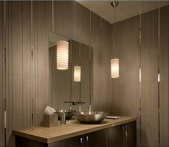 Astounding Corner Pendant Lights Seen In This Bathroom Part 45