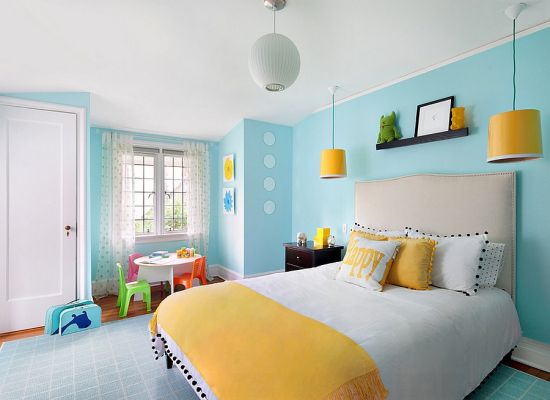 Amazing Beautiful kids room decor with sober blue wall paint and yellow lampshades and simple white and yellow bedding