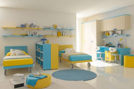 Blue And Yellow Bed Sets And Shelves With Study Desks For A Complete Kids  Room Look