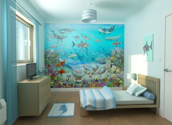 Fabulous Blue sea inspired wall decor for kids room with images of underwater animals