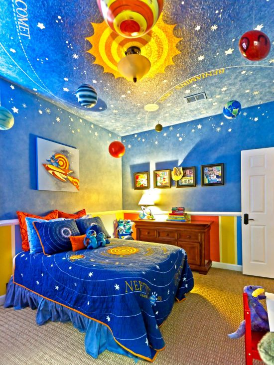 Luxury Blue space themed kids bedroom decor with blue and yellow planets hanging from ceiling and brilliant wall art
