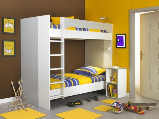 Cool Kids Room Interior Decor With Bunk Bed With Blue And Yellow Striped  Bedding And Yellow Rug On Floor And Yellow Painting On Wall