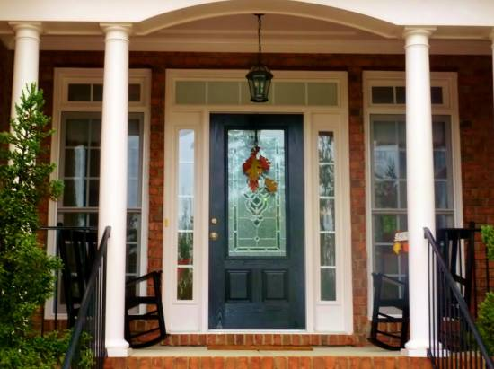 Fabulous Black Single Half Glass Modern Front Door