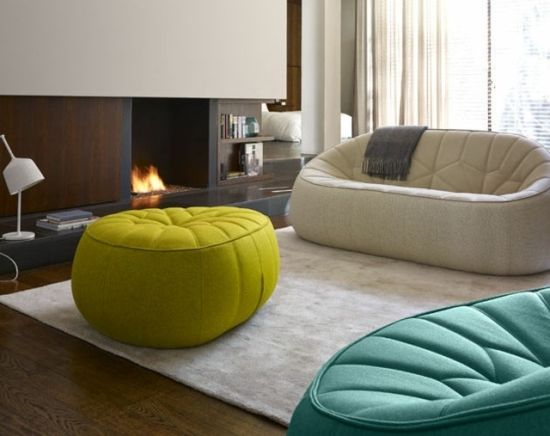 Gorgeous apartment decor with iconic pumpkin pouf