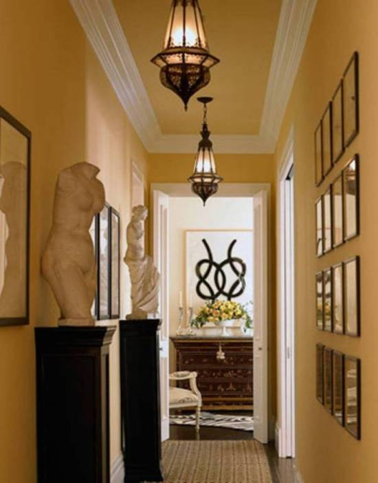 Hallway Decorating Ideas With Lanterns & Statues & Framed Wall Arts