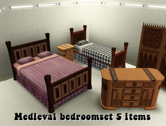 Medieval Bedroom With 5 Pieces Of Furniture
