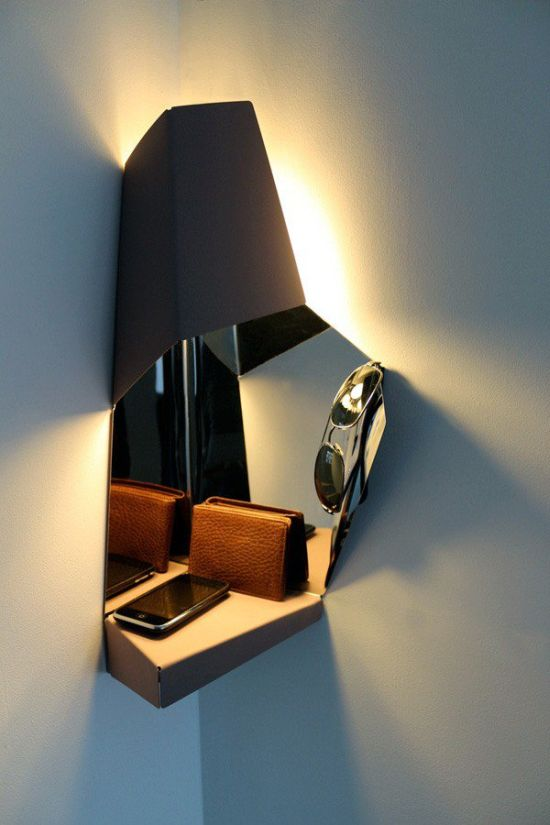 Modern sculptural corner light fixture