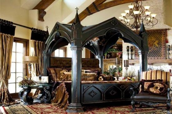 High Quality Medieval Bedroom Stunning Medieval Canopy Bed Made Of Dark Wood